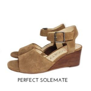 Sole Society Korri Open Toe Buckle Wedge Sandals